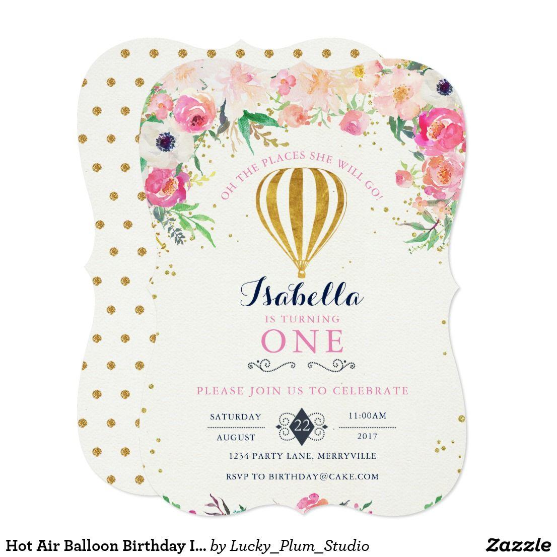 Hot Air Balloon Birthday Invitation | { Happy Birthday - Invitations ...