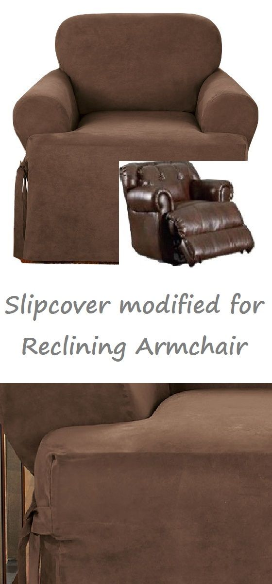 Reclining Chair Slipcover T Cushion Suede Chocolate Adapted For Recliner Armchair Sofa