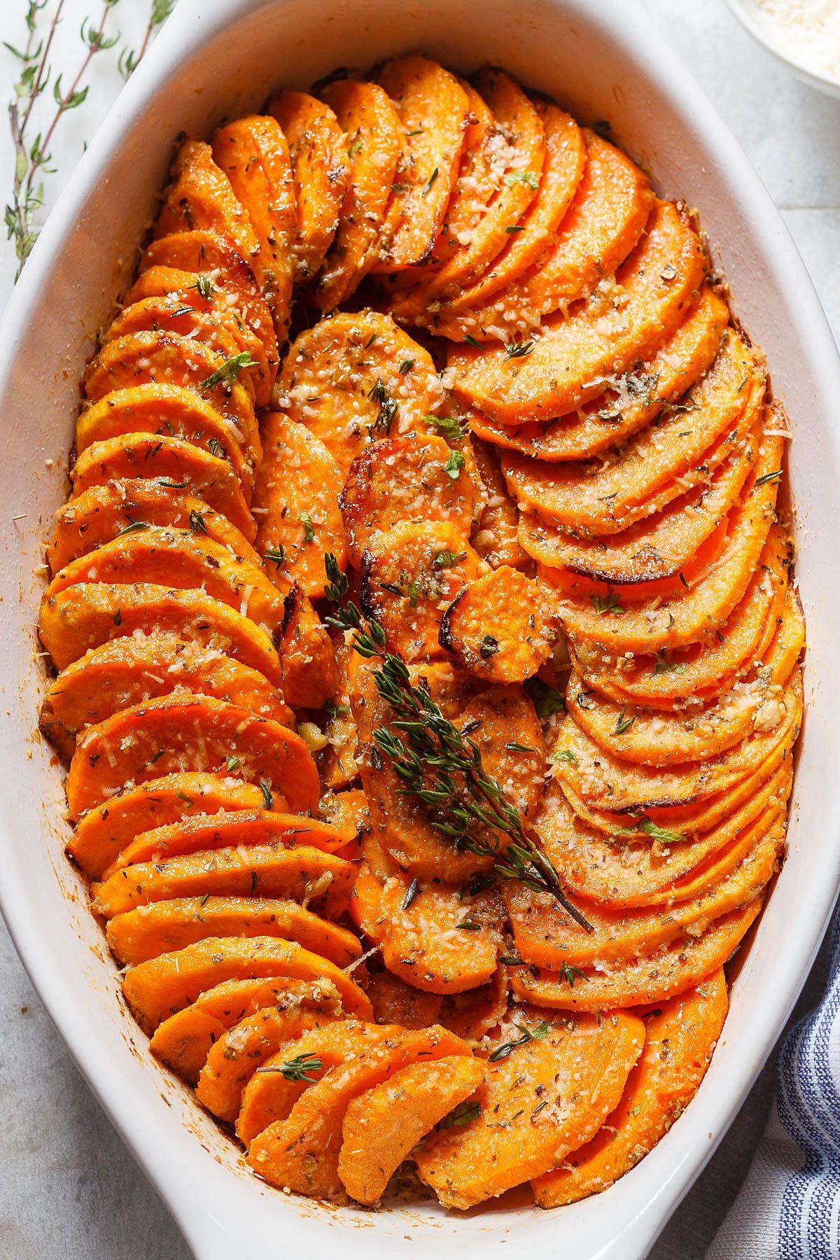 Garlic Parmesan Roasted Sweet Potatoes