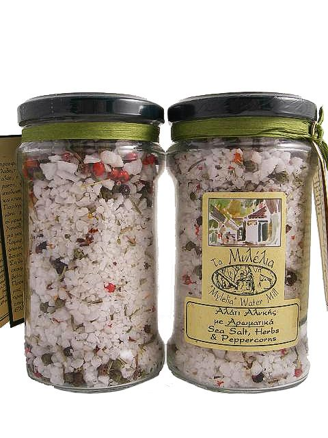 Sea Salt with Aromatic Herbs & Peppercorns! Pure sea salt from the Kalloni salt marshes of Lesvos, flavoured with regional herbs. Ideal for marinating meat and vegetables.