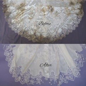 Crabbe Train Before After Wedding Gown Restoration