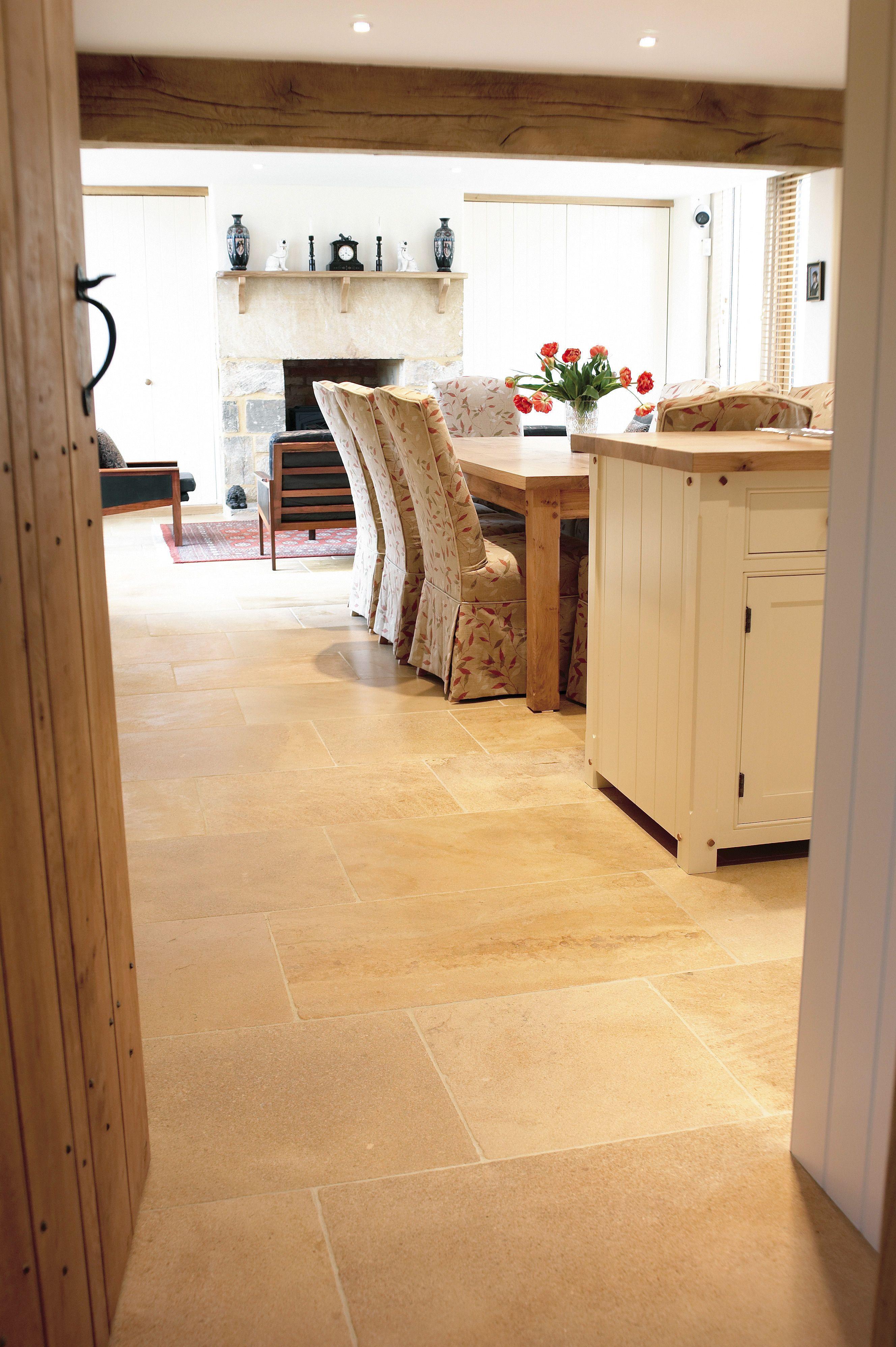 Cotswold Cream Limestone Flag Post Rock And Wood Tile Floor Living Room Stone Flooring Limestone Flooring