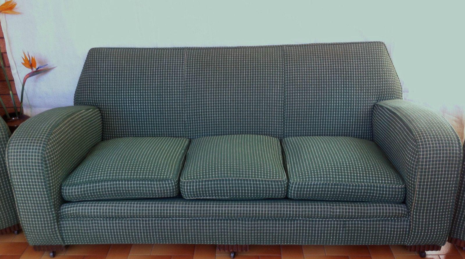 Original art deco sofa stamped 1920 early century antique vintage green lounge retro furniture - Deco lounge parket ...