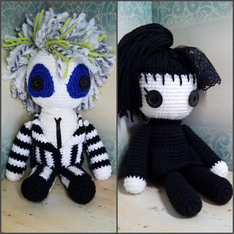 Beetlejuice Crochet Pattern Lydia Deetz Crochet Pattern Amigurumi Kawaii Crochet Crochet Doll Pattern Crochet Dolls