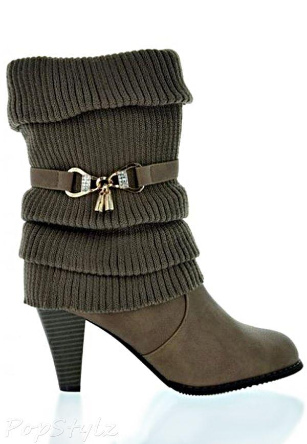 Dream Pairs CORONA-1 Dressy Knitted Sweater Boot  41276770f2cf9
