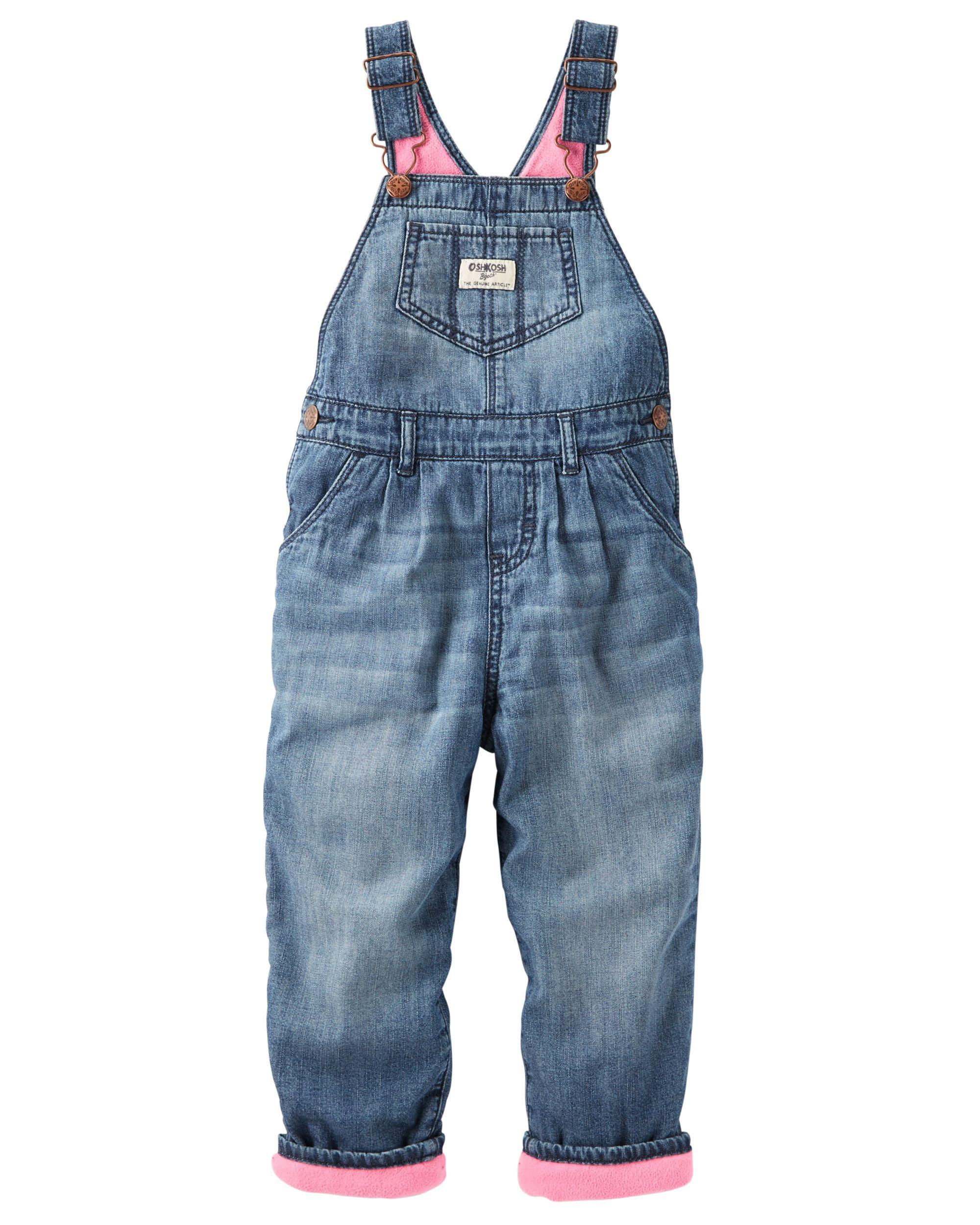 e075034b66df Baby Girl Fleece-Lined Denim Overalls - Ribbon Blue from OshKosh B ...