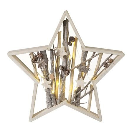 Achica Heaven Sends Wooden Star Frame With Led Light White Deco