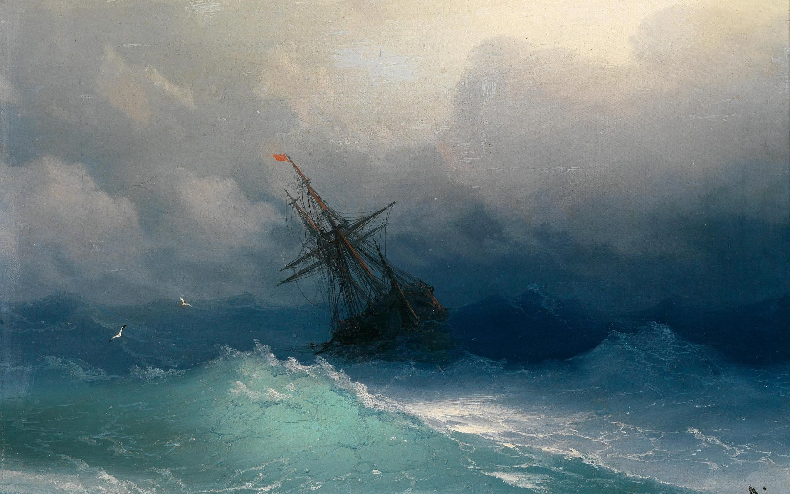 ivan aivzovsky clouds paintings sail ship sea ships