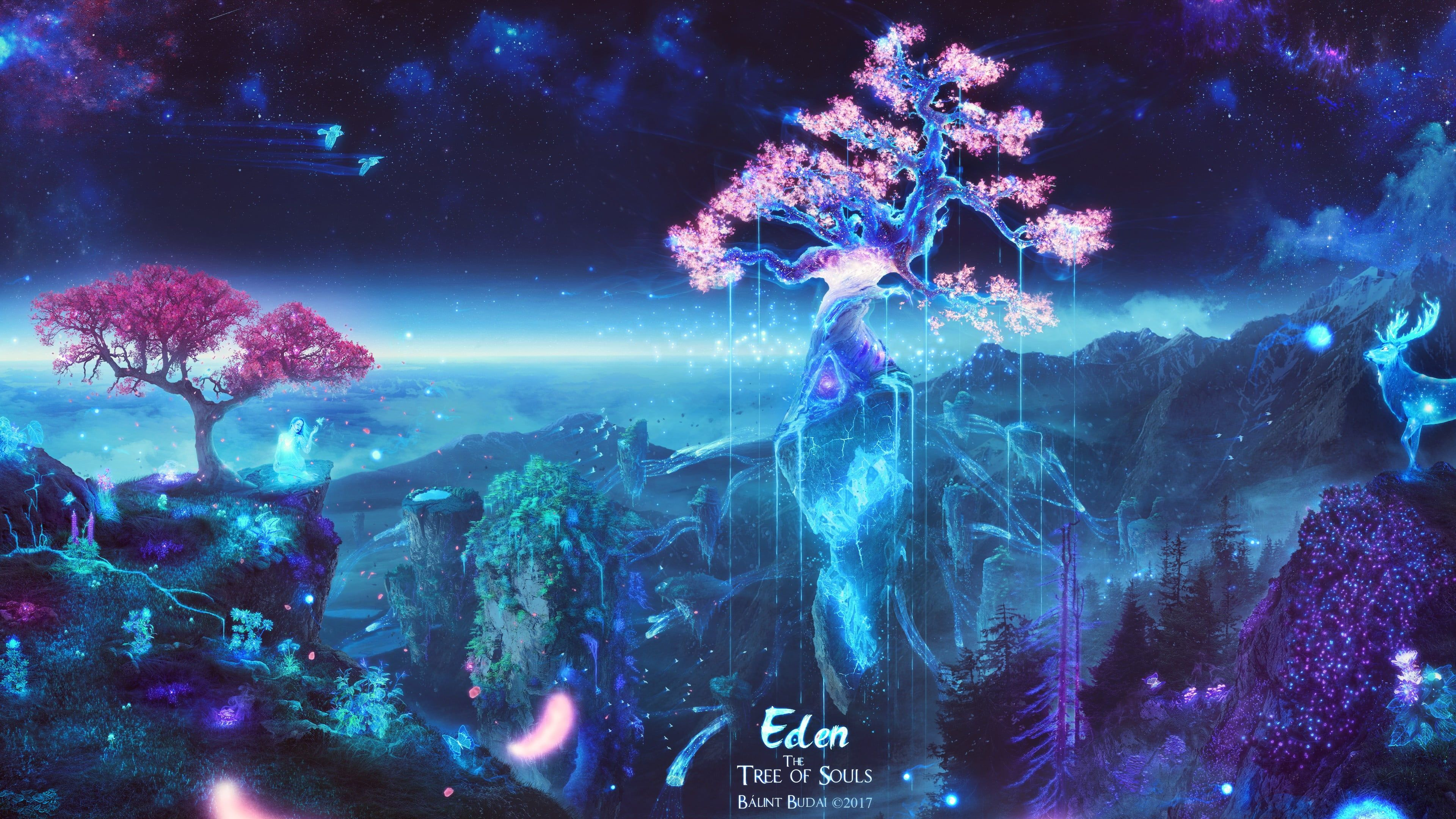 Eden Tree Illustration Photo Of Pink Cherry Blossoms Trees Space Galaxy Souls Sakura Tree Deer Butterf In 2020 Sakura Tree Tree Hd Wallpaper Tree Illustration
