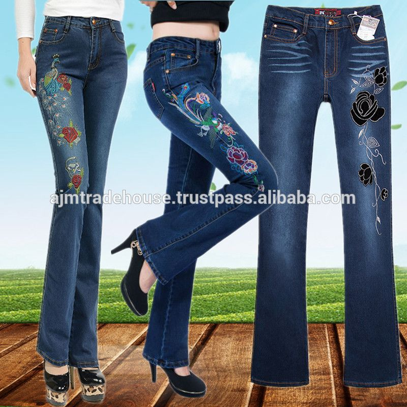f73dc6edbf8 ladies jeans new hot design bell bottom one side embroidered ...