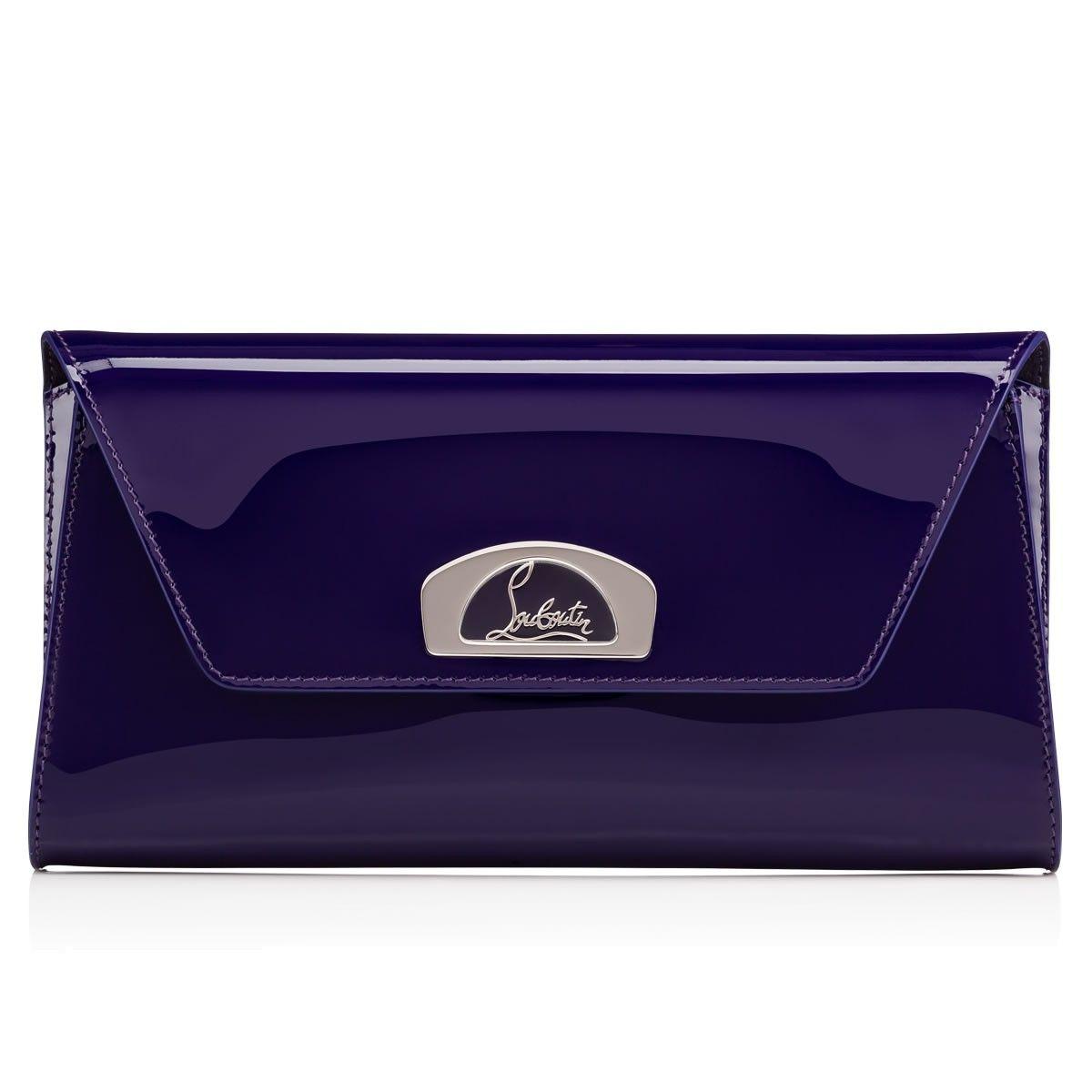 5784fab4261 CHRISTIAN LOUBOUTIN Vero-Dodat Clutch Purple Pop Patent Calfskin ...
