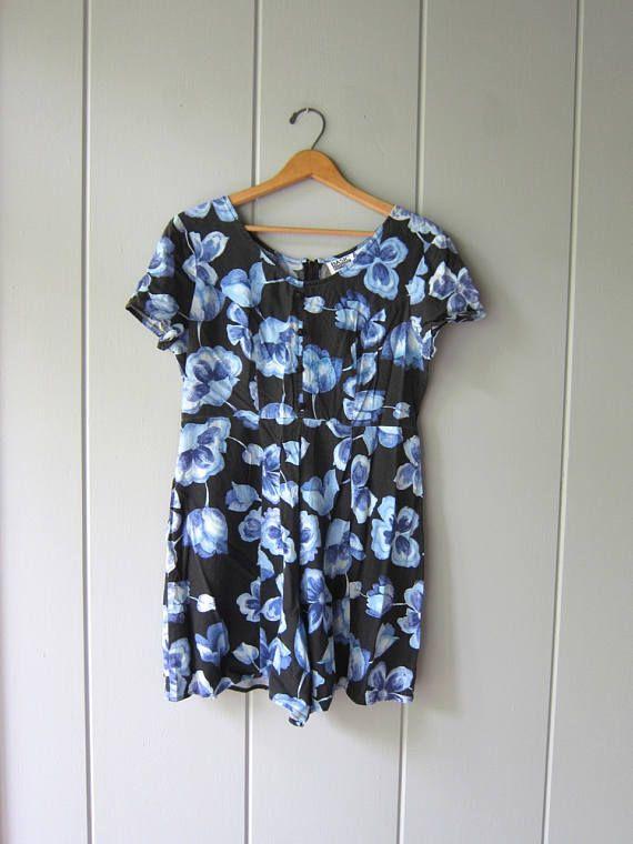 05b8ef49308c Vintage Floral Romper 90s Black Blue Floral Culottes Shorts Jumper ...