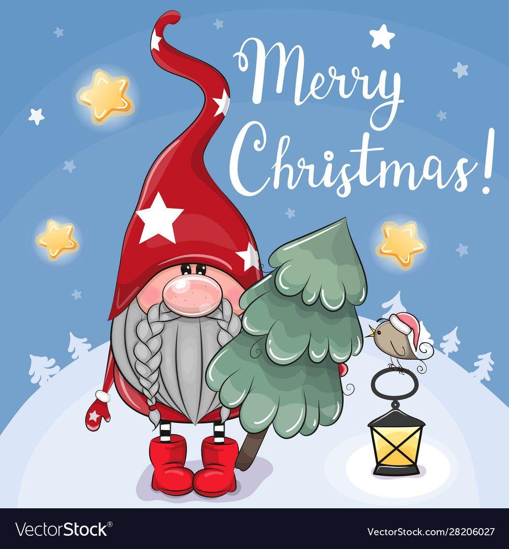 Cute Cartoon Gnome With Christmas Tree On A Blue Vector Image On Vectorstock Christmas Drawing Christmas Artwork Cute Cartoon
