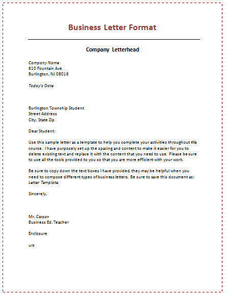 Business Letter Format Learning Teaching Sapiyaztutioncentre