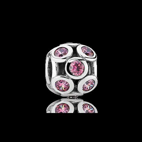 pink cubic zirconia circles bead