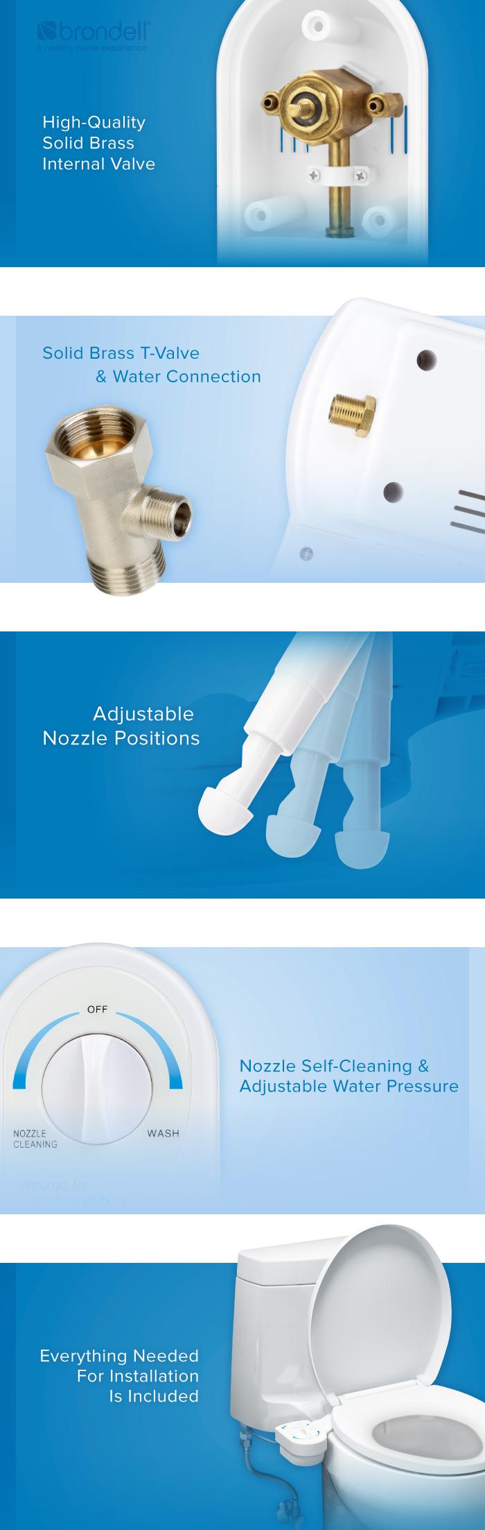 Brondell FreshSpa Easy Bidet Toilet Seat Attachment in