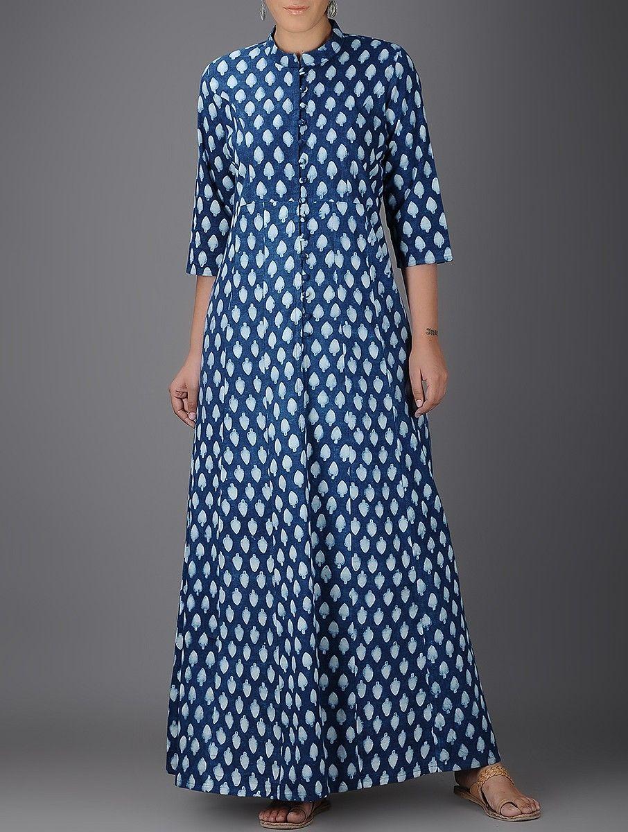 Buy Indigo Ivory Block printed Khadi Kalidar Dress Women Dresses  Conversations dyed apparel Online at Jaypore