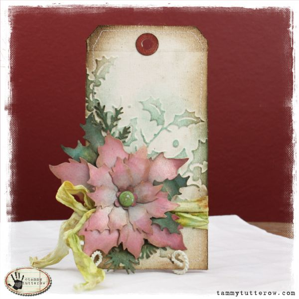 tammy tutterow: tattered poinsettia tag http://tammytutterow.com/2012/11/tuesday-tutorial-tattered-poinsettia-tag/#