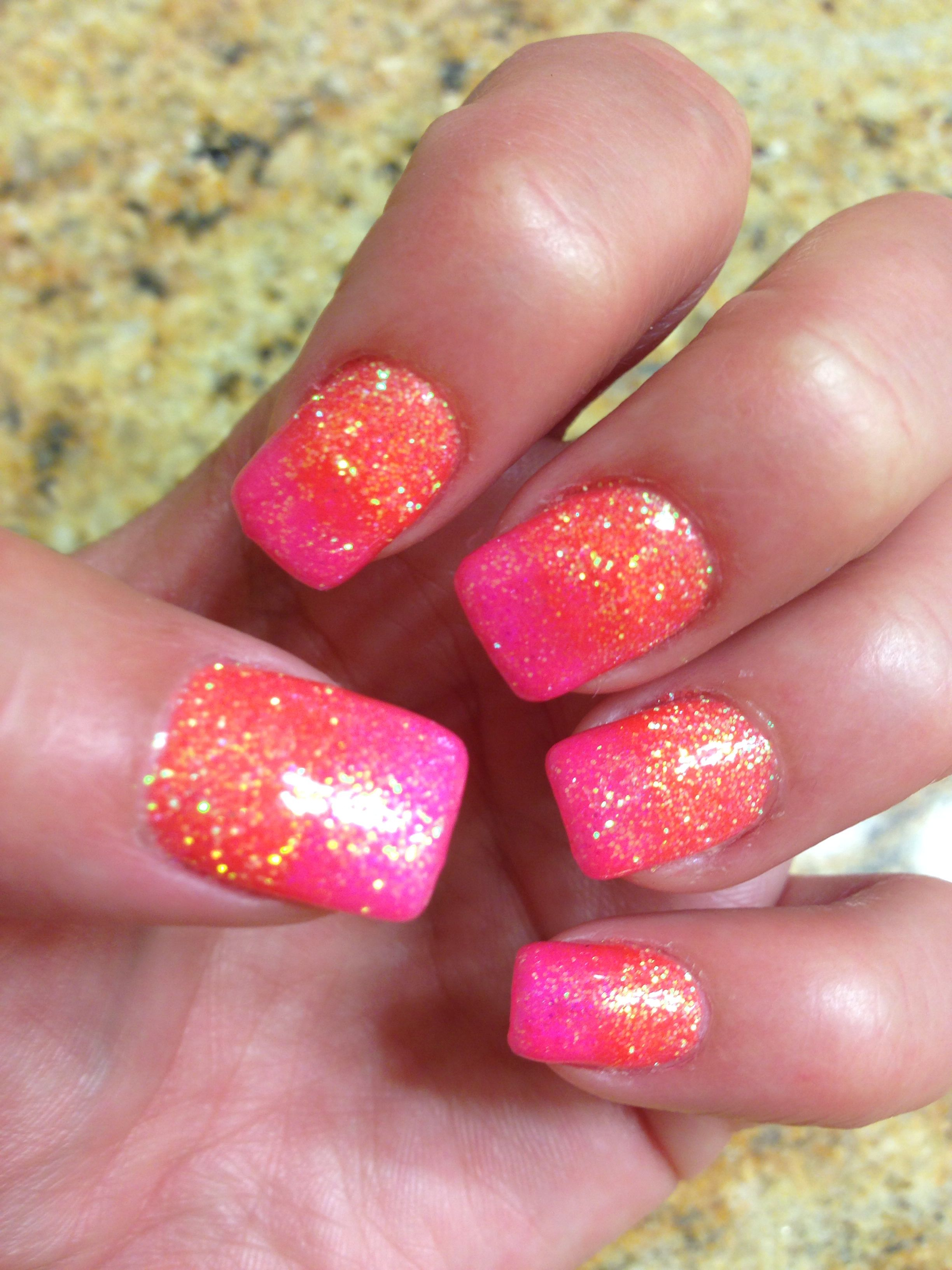Summer Nails By Tanya Phillips Coral Colors Pink And Orange Gel Polish Shellac Glitter Glows Under Black Light Swag Too Cute Bright Costal