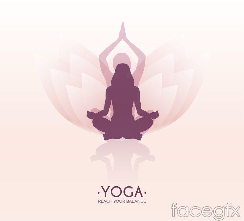 Yoga Lotus Background Woman Logo Vector Lotus Yoga Yoga Illustration Yoga Background