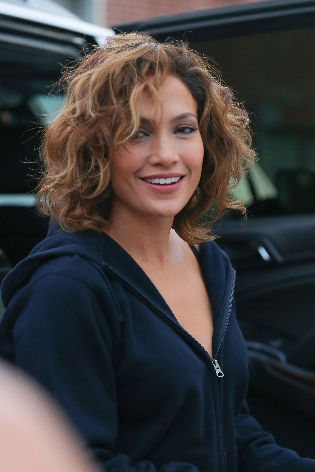 I like the hair coloring here. / JENNIFER LOPEZ at Shades of Blue Set in New York 07/23/2015