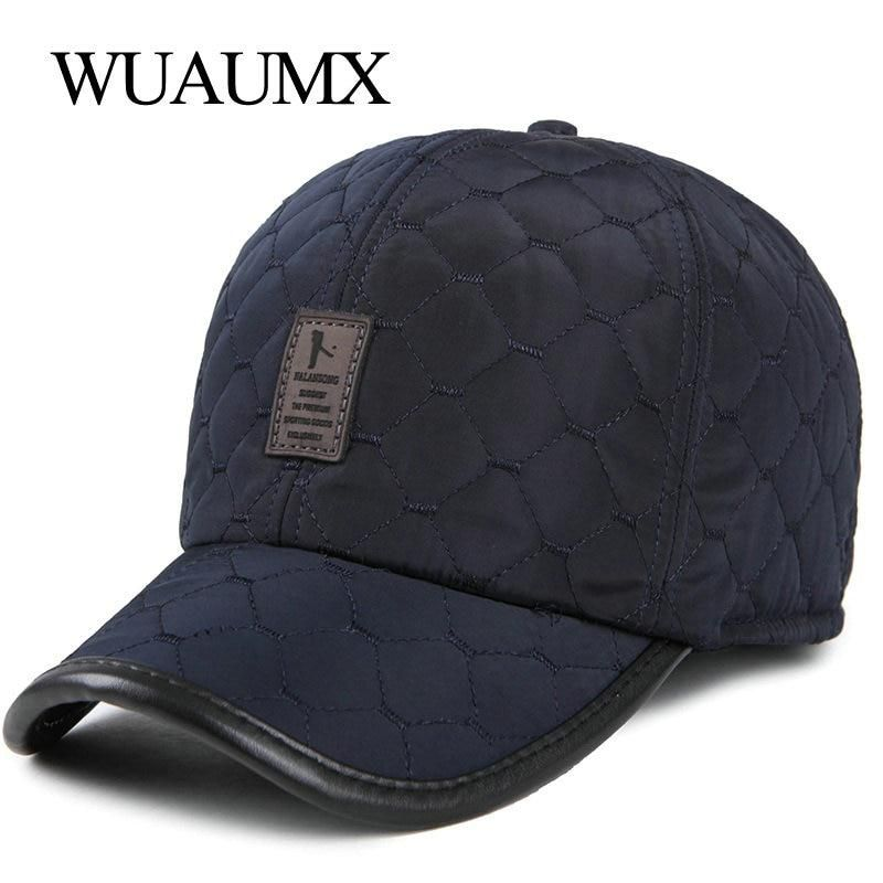 03d4e429f1c Wuaumx Fall Winter Thicker Baseball Caps For Men With Earflaps Warm Earmuffs  Snapback Caps For Men Ear Protection Hat Wholesale.
