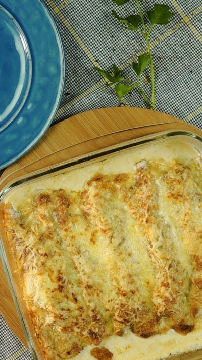 Canelones de Pollo y Espinaca Gratinados ~ Receta