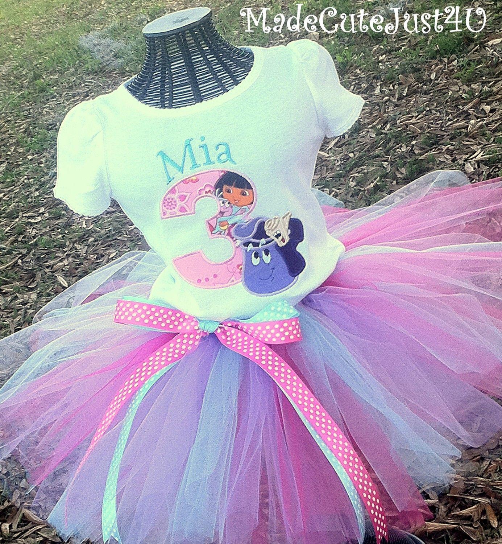 Dora The Explorer Birthday Number Shirt And Tutu Set