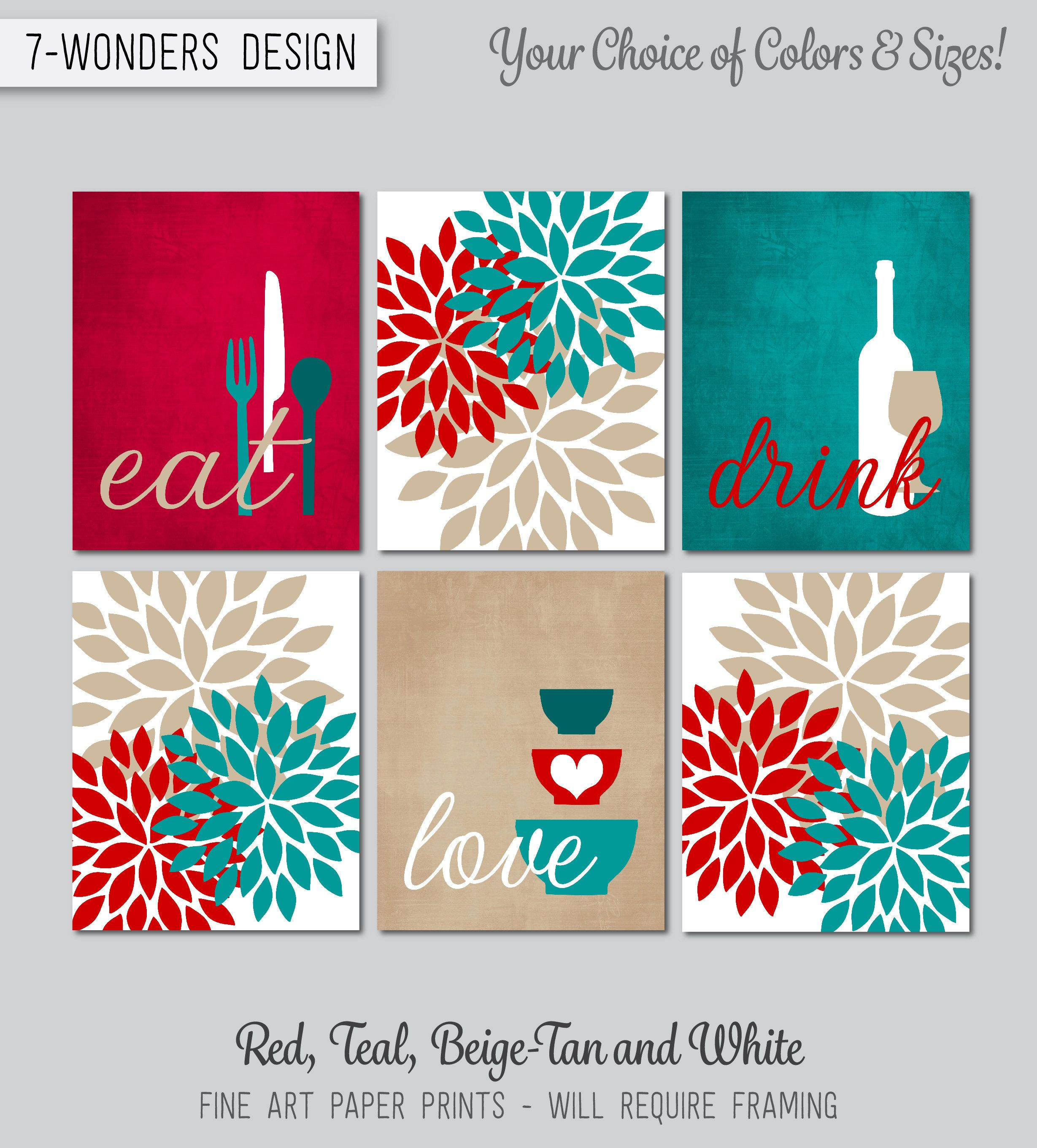 Red Teal Tan Kitchen Wall Art Prints Eat Drink Love Flower Bursts Utensils Wine Bowls Kicthen Home Kitchen Wall Art Canvas Kitchen Decor Red Kitchen Decor