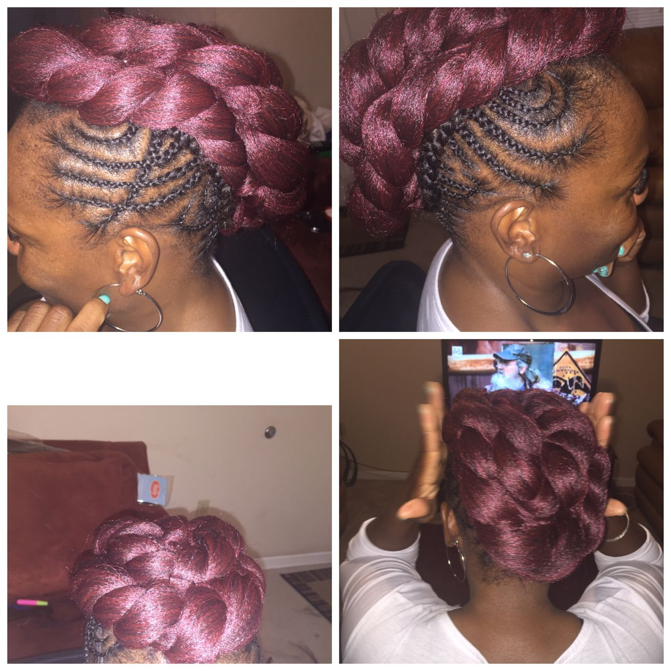 Braided mohawk with crocheted middle natural hair styles