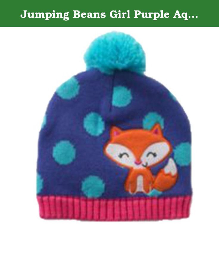 faab6633 Jumping Beans Girl Purple Aqua Dots Pom Fox Beanie Hat Large. Keep her warm  with this cute hat from Jumping Beans. Pom accent.