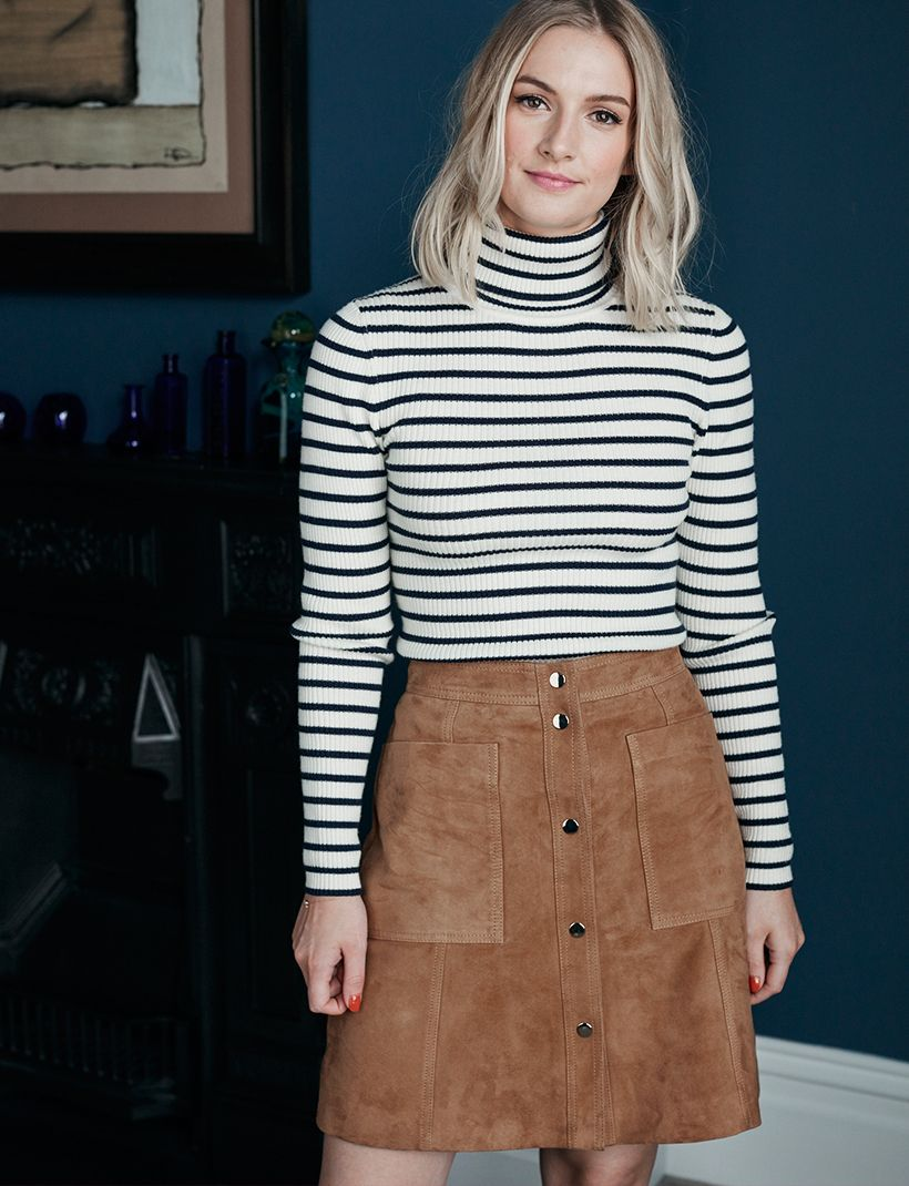 063934abe30d ... post featuring Samantha de Haas, magazine editor, in her favourite  Boden pieces for fall and winter including this look; a button up suede  mini skirt ...