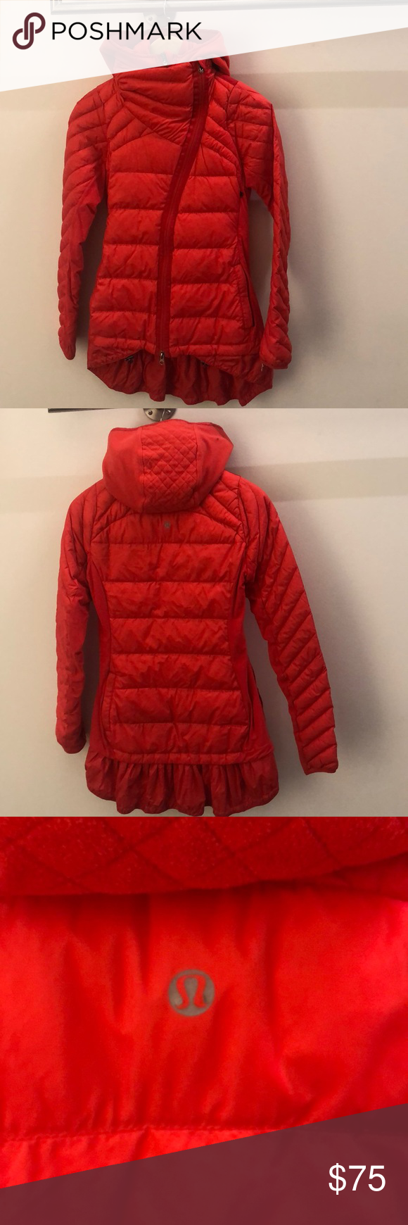 Lululemon Red Puffer With Detachable Dickie Sz 4 Red Puffer Jacket Red Puffer Puffer [ 1740 x 580 Pixel ]