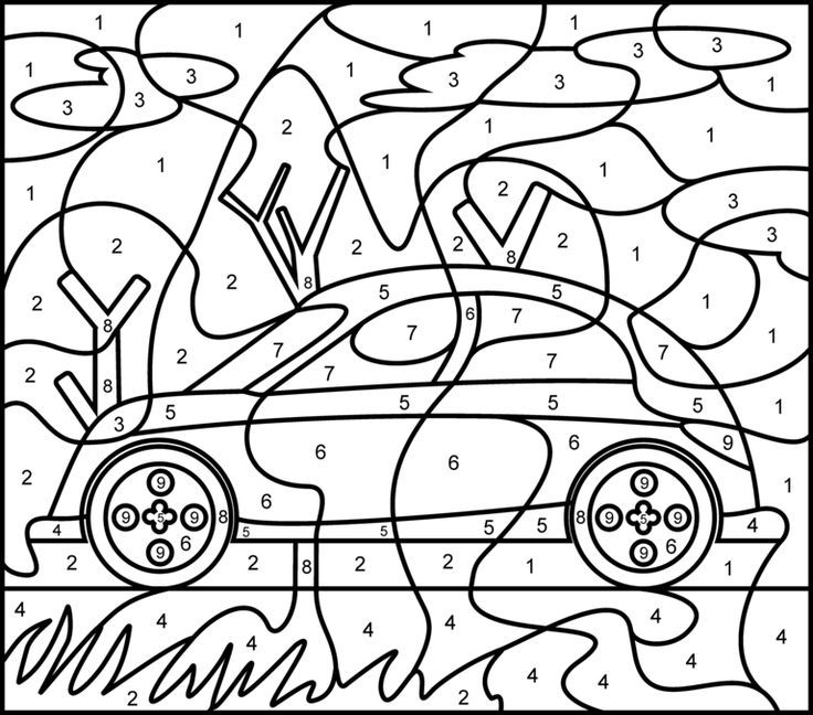 Car Printable Color By Number Page Hard Coloring Pages