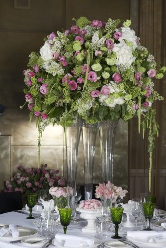 Again tall centerpiece this one with more greenery and some pink an english style centerpiece of pink and green with hanging green amaranthus pink ranunculuses white hydrangeas ammi and green lisianthus junglespirit Image collections