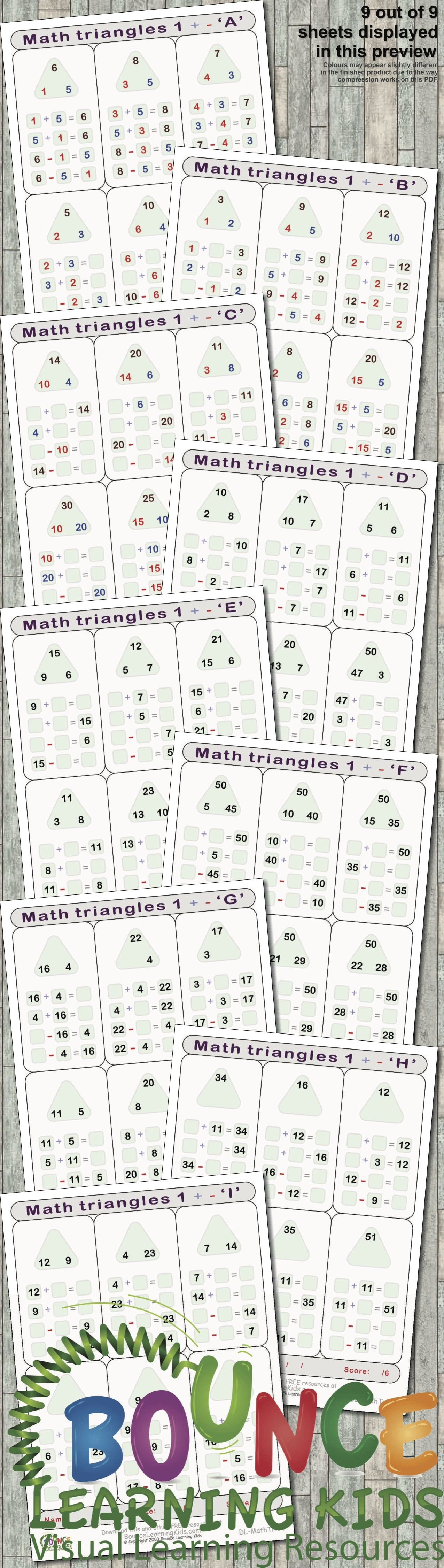 Math Triangles 1 9 Numeracy Sheets