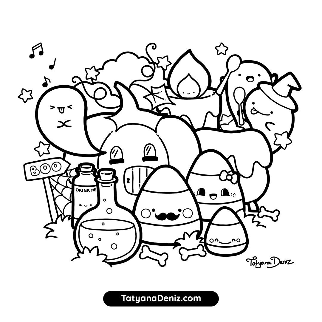 How To Draw Kawaii With Tatyana Deniz Halloween Coloring Pages Cute Coloring Pages Kawaii Doodles