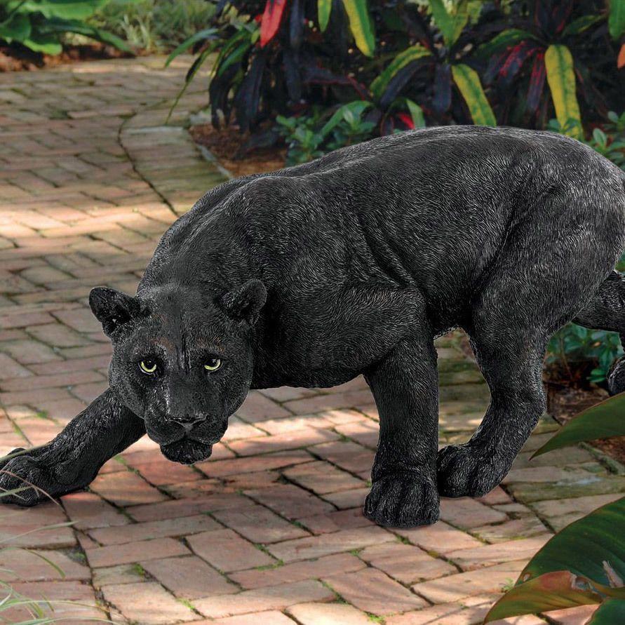Black Cat Garden Statue Animal Ornaments Big Panther Patio Jungle Life Like