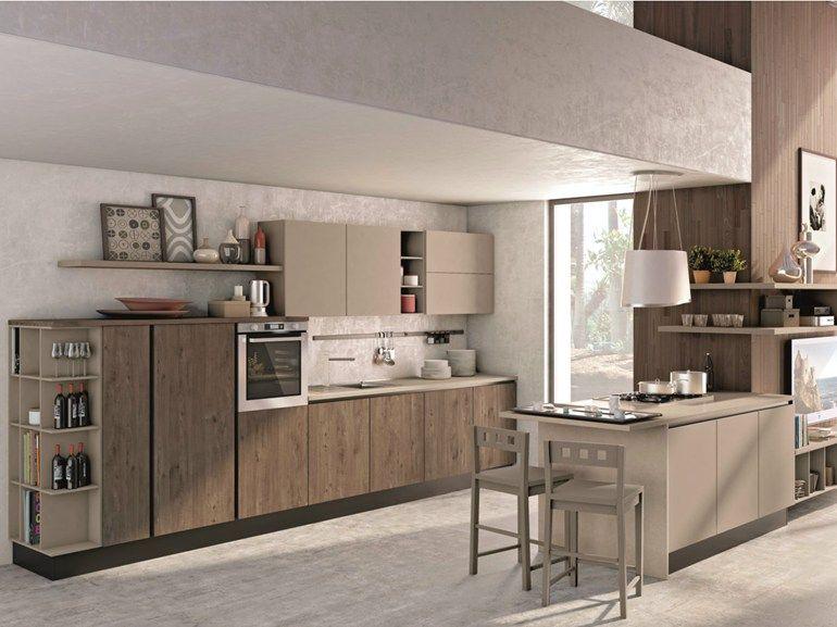 Favoloso Cucina componibile con penisola senza maniglie KYRA NECK - CREO  HX12
