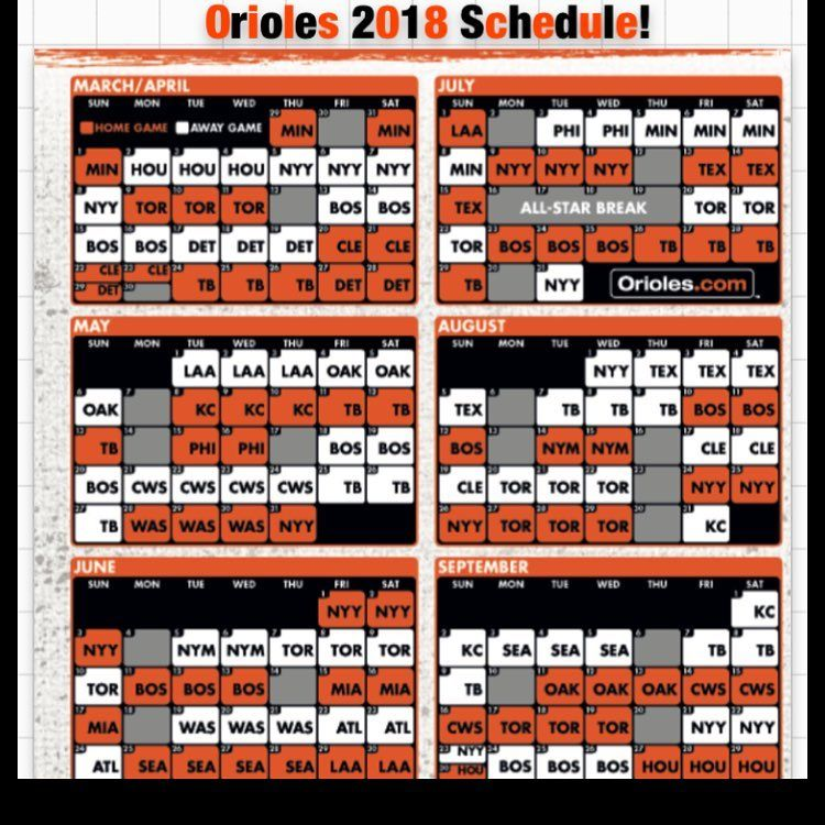 picture relating to Orioles Printable Schedule called Orioles 2018 Agenda! - - - #followforfollow #orioles
