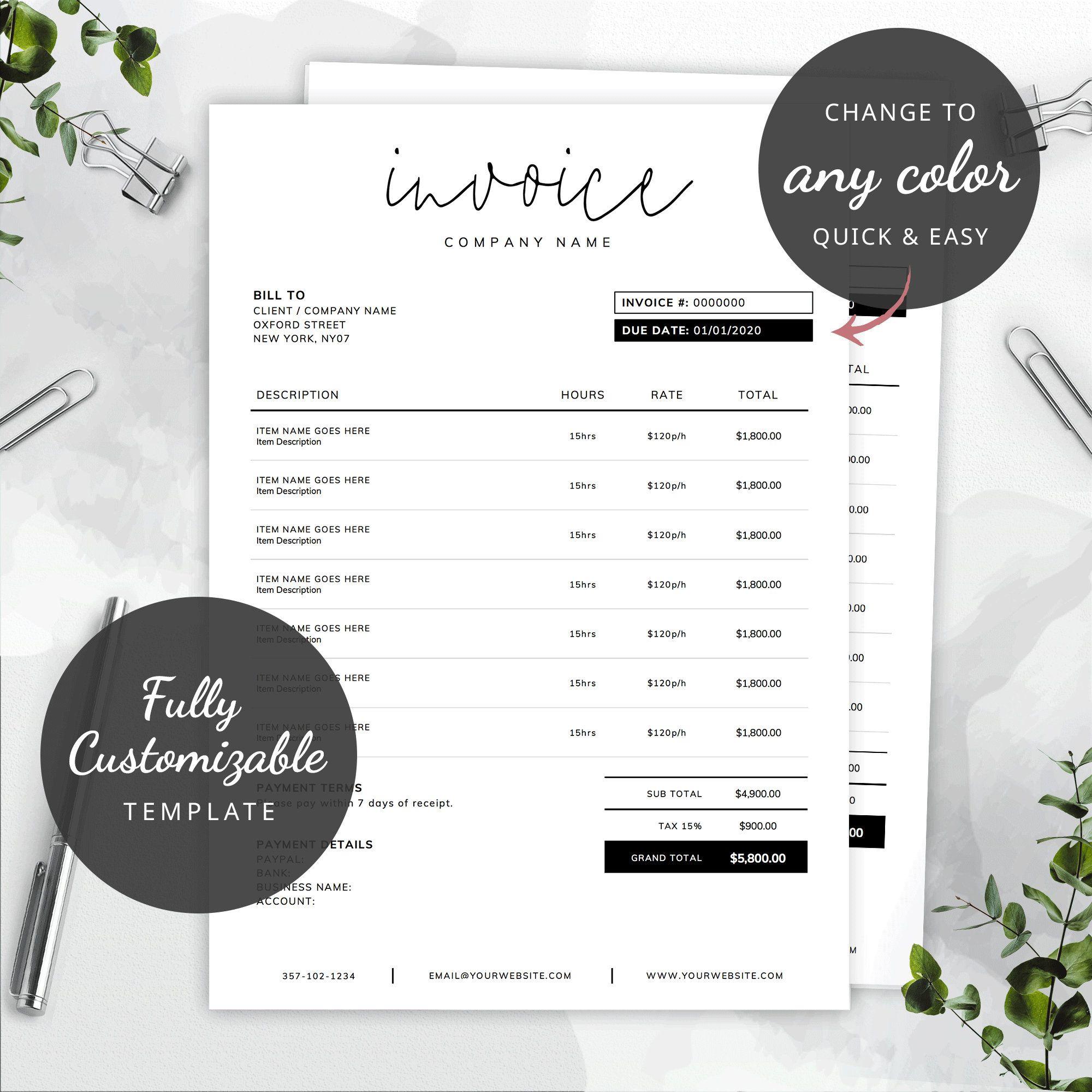 Printable Invoice Template Word Editable Invoice Custom Etsy Invoice Template Word Photography Invoice Template Invoice Template