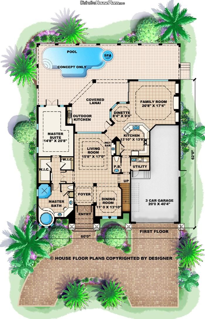 House Plan 021154 The Aurora Iv Distinctive House Plans Mediterranean Style House Plans House Plans Mediterranean House Plan