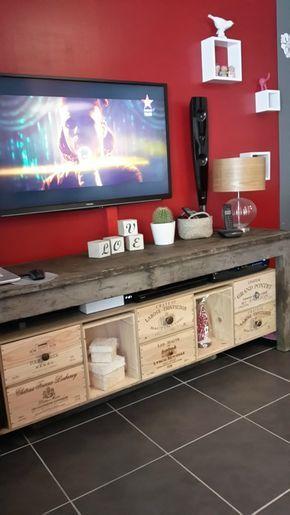 tabli caisses vin meuble tv projets essayer pinterest meuble tv caisse et tv. Black Bedroom Furniture Sets. Home Design Ideas
