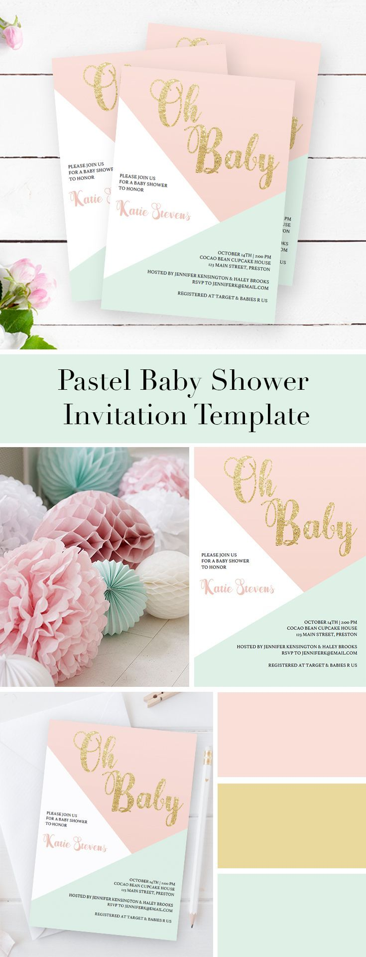 Pink And Gold Baby Shower Invitation Template  Baby Shower