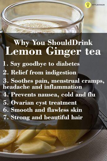 Lemon ginger tea – Health benefits - Napitek pa pomaga tudi pri sladkorni bolezni, saj uravnava raven sladkorja, uravnava raven krvnega tlaka in ščiti pred kardiovaskularnimi boleznimi.   Za pripravo boste potrebovali eno limono, pest peteršilja, eno žličko naribanega ingverja, eno žličko jabolčnega kisa, pol žličke cimeta v prahu, pol litra vode.   Vse sestavine dajte v mešalnik in dobro zmešajte. Nato pripravek popijte tik pred spanjem.