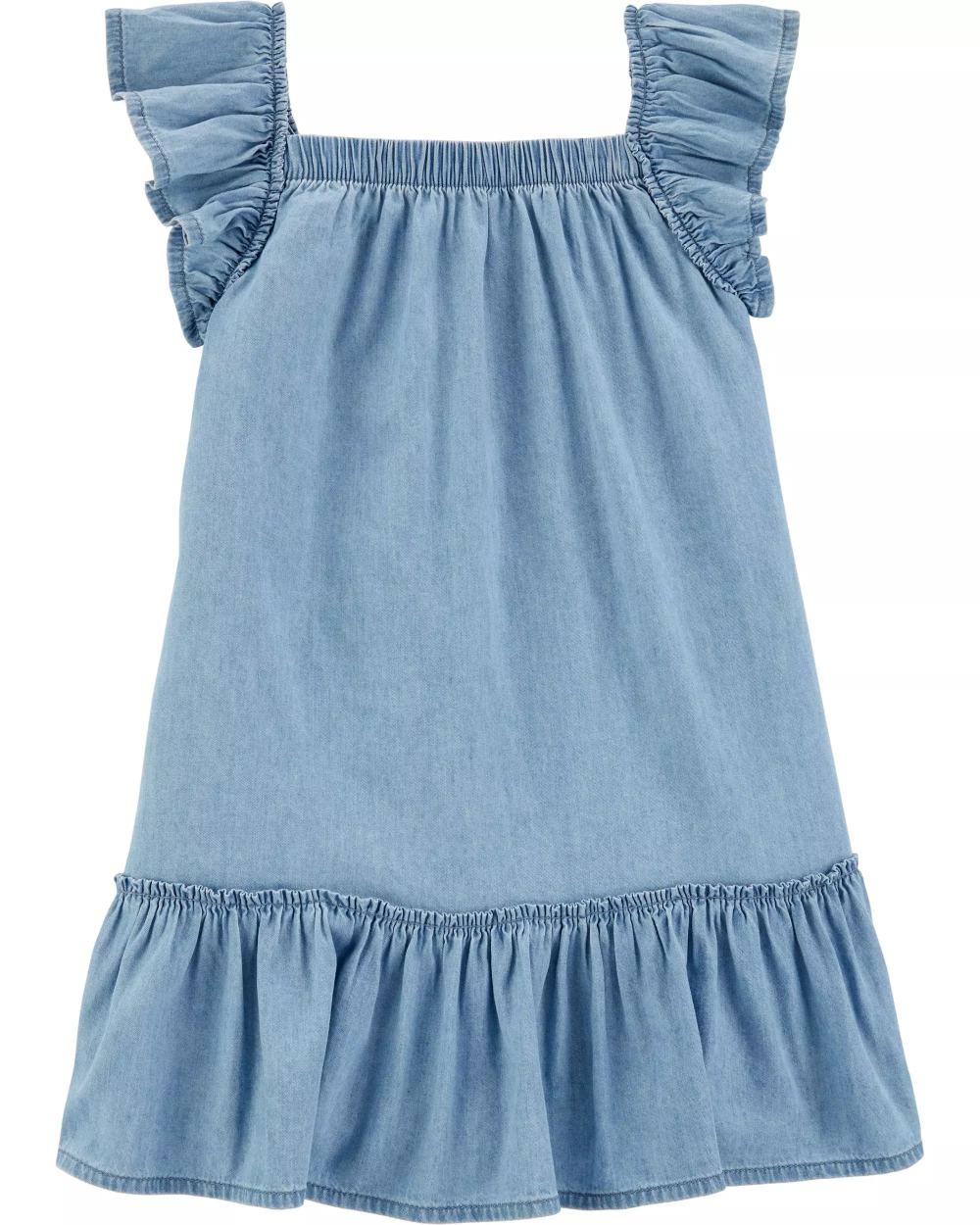 Ruffle Denim Dress Denim Ruffle Dress Denim Dress Baby Girl Dresses [ 1250 x 1000 Pixel ]