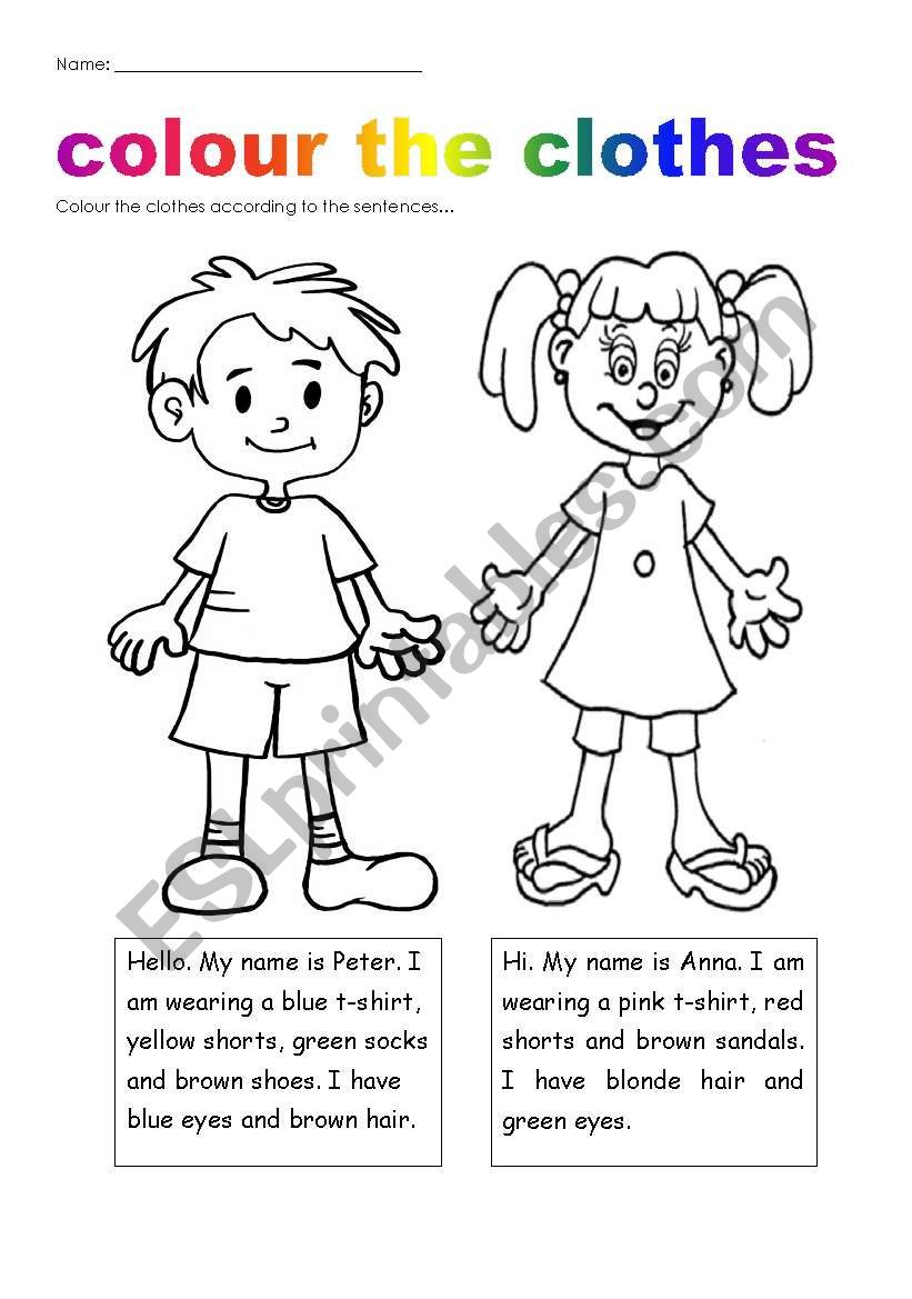 colour plus clothes worksheet Ingles para preescolar