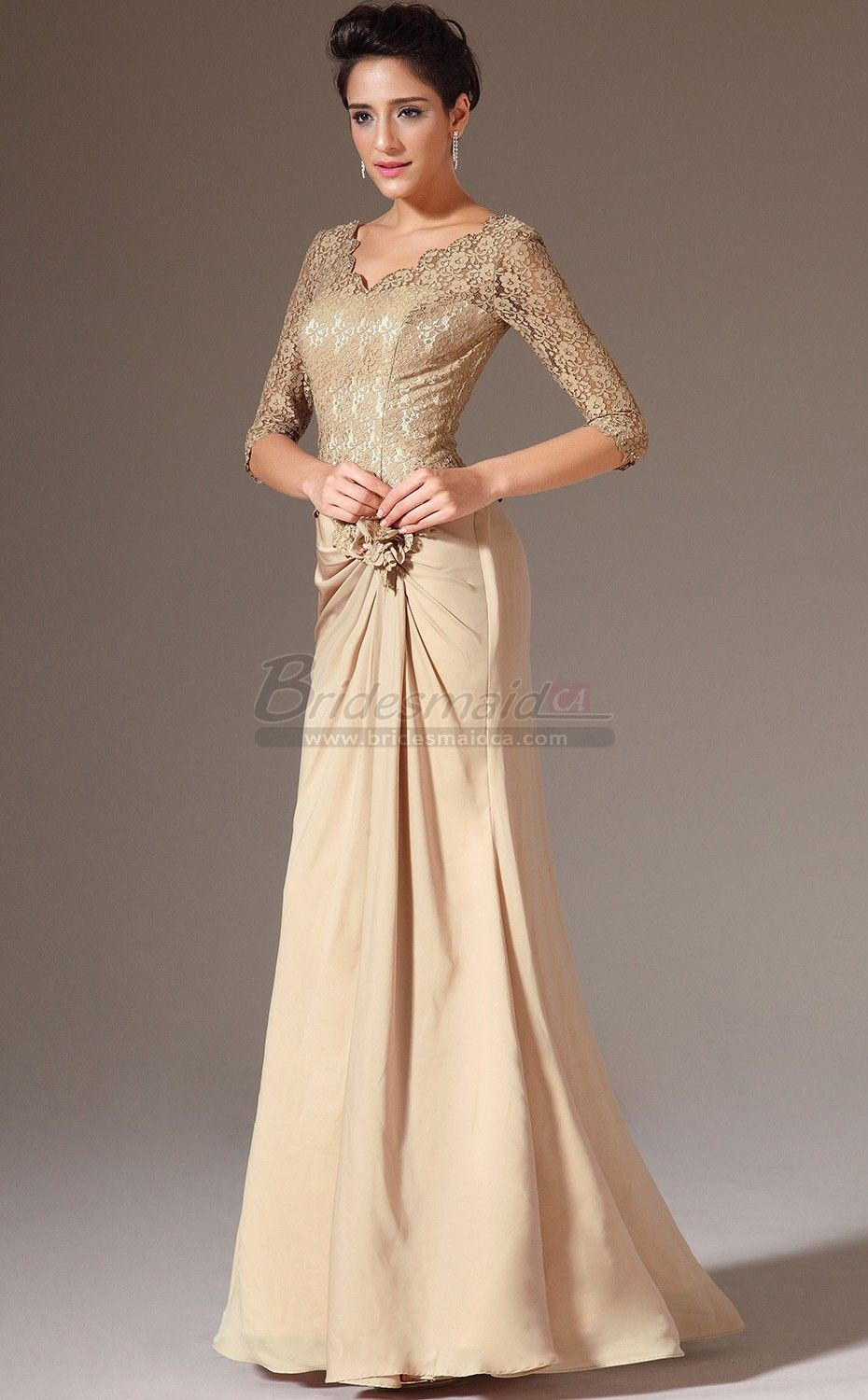 Gold v neck long chiffon and lace mermaid bridesmaid dress with gold v neck long chiffon and lace mermaid bridesmaid dress with half sleeve jt ca1379 ombrellifo Image collections