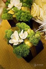 Reindeer Moss & Orchid Centerpieces