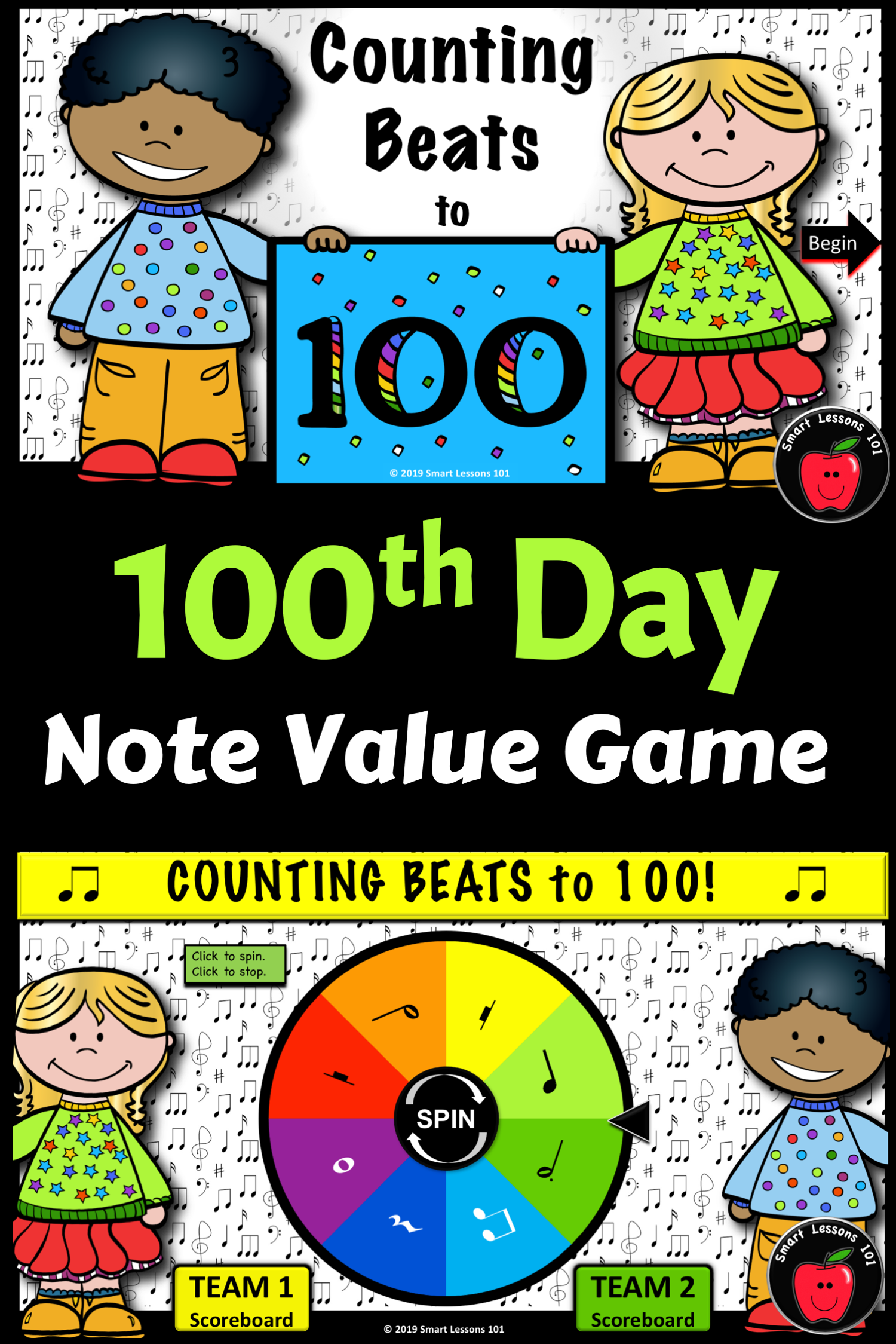 100th Day Of School Note Value Music Game 100th Day Rhythm